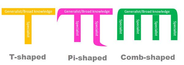 PI-SHAPED, COMB-SHAPED, T-SHAPED people #profiles #worforce - software skills