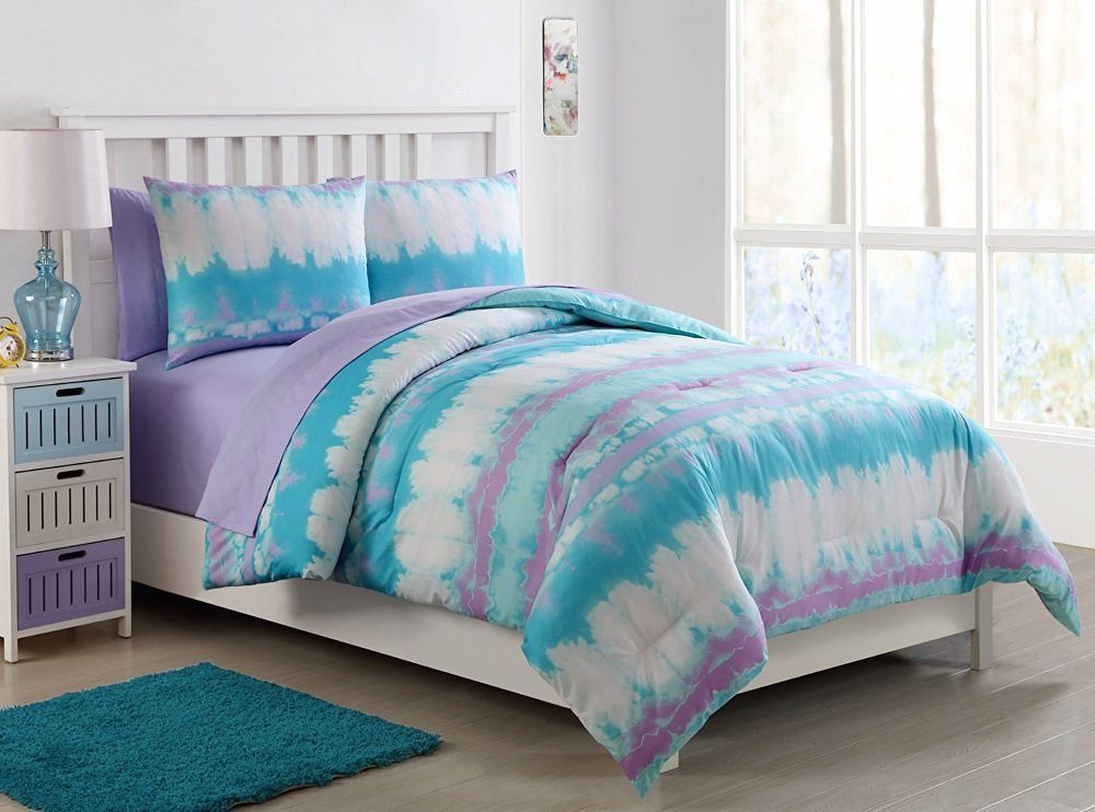 Vcny Home Pink Lemonade Tie Dye Bed In A Bag Comforter Set With Sheet Set,  Blue