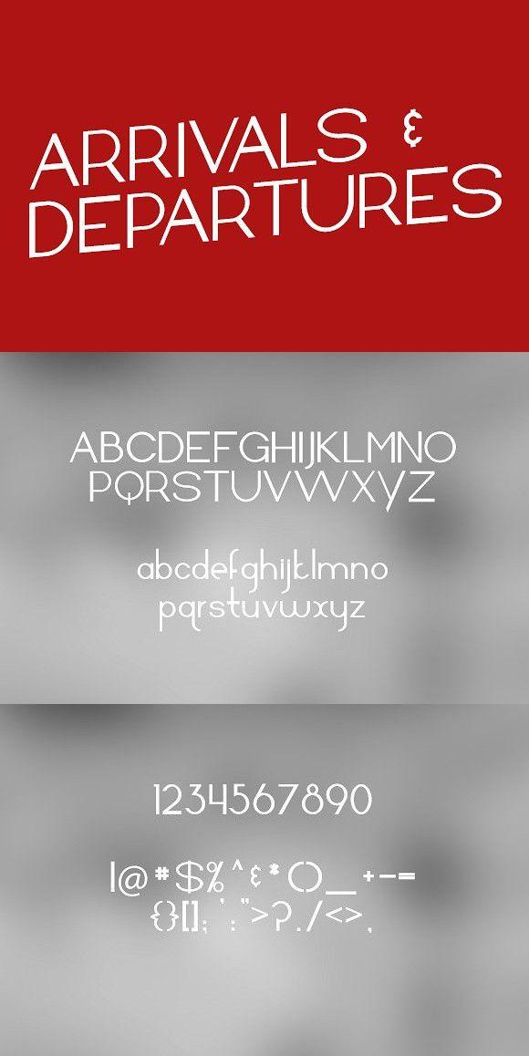 Arrivals and Departures - Package. Sans Serif Fonts. $15.00