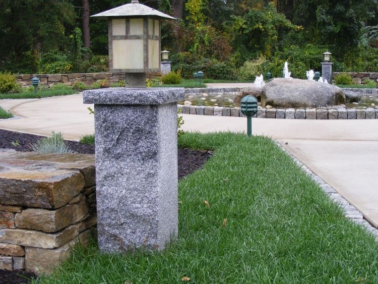 Low Profile Woodbury Gray Granite Lamp Posts With Optional Granite Caps Light This Water Feature And Walkway I Lamp Post Lights Outdoor Post Lights Post Lights