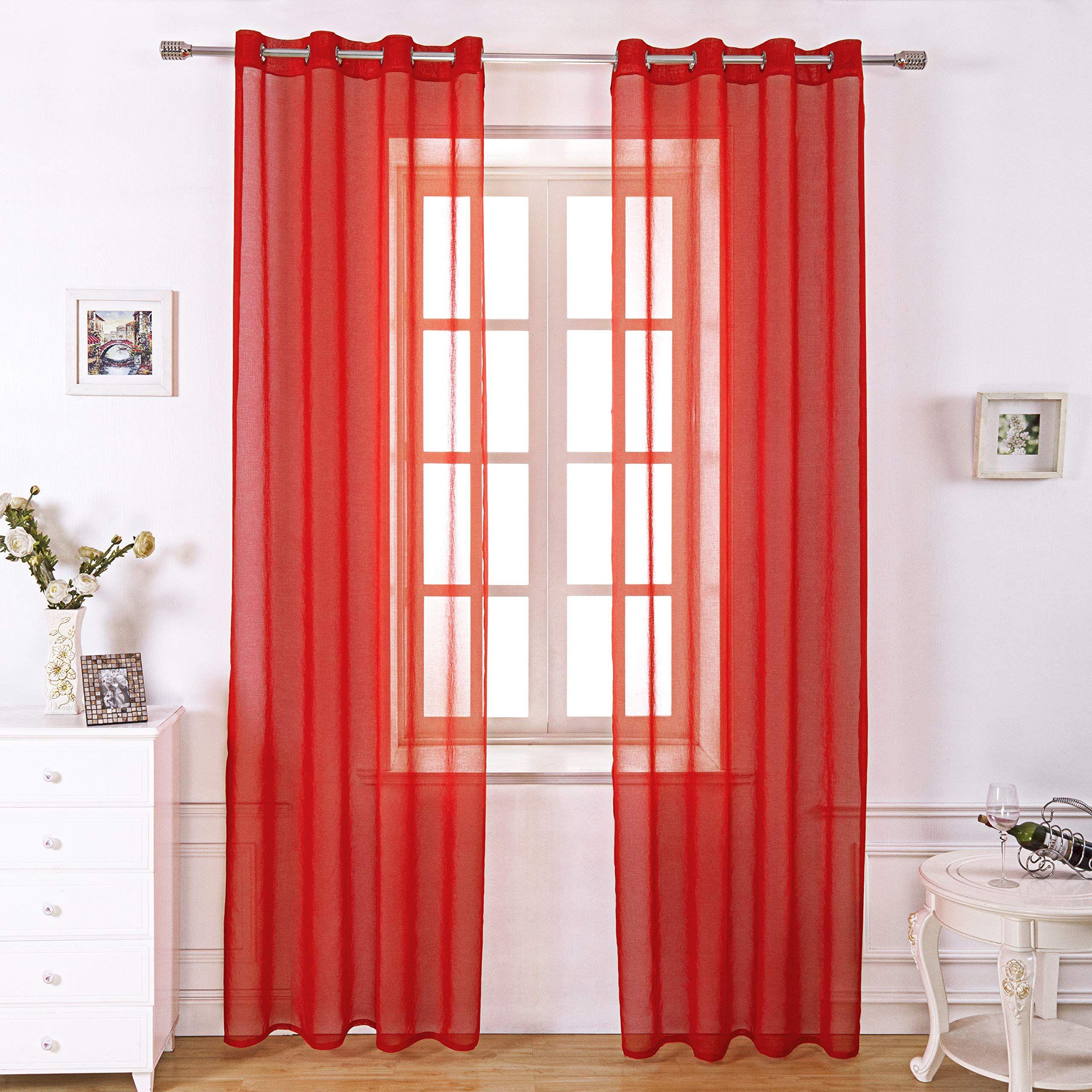 Selectex Linen Look Semi Sheer Curtains Grommet Voile Curtains