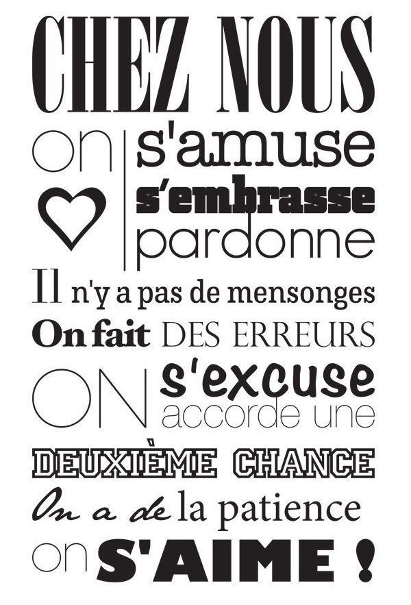 Sticker mural original Messages, Quote citation and Positive attitude - stickers dans cette maison
