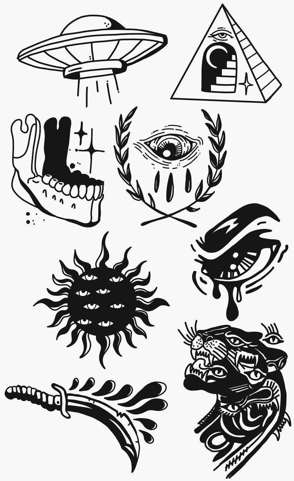 Hunter macleod flash sheet in 2020 tattoo flash sheet