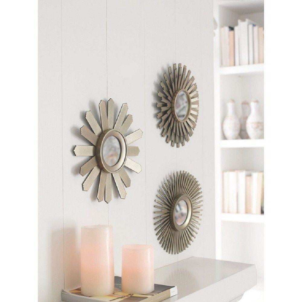 3 Piece Starburst Mirror Set Wall Accent Display Pieces For Bedroom Or Dining Room Starburst Mirror Mirror Decor Sunburst Mirror