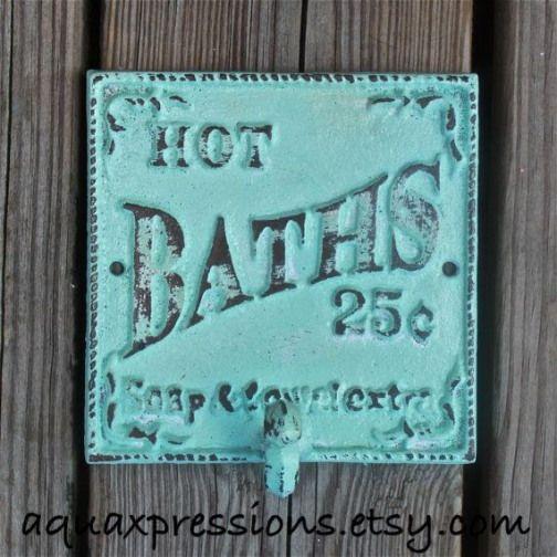 Photo of Wall Hook/ Aquamarine/ Bath Towel Rack/ Robe Hook/ Shabby chic/ Bathroom Fixture…