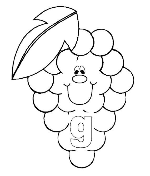 G For Fruit Coloring Pages Fruit Coloring Pages Alphabet
