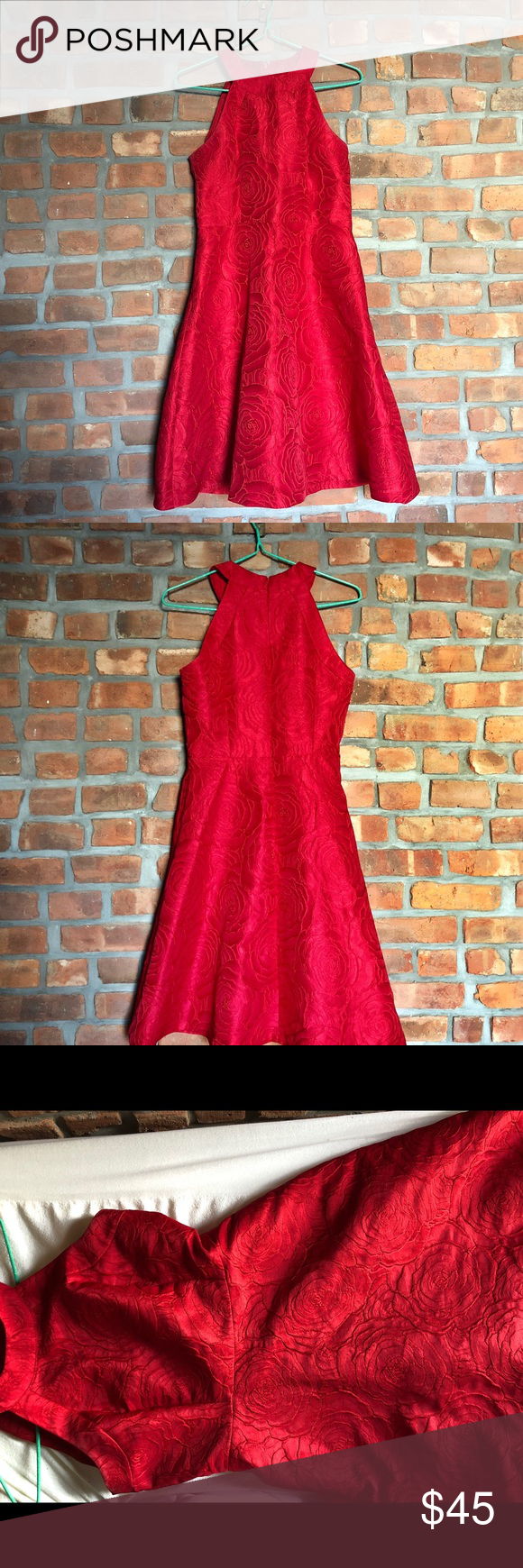 Red Calvin Kline Dress Deep true red Calvin Kline dress with rose pattern detailing  - size 4 - worn 1 time (to a wedding)  - high neck, sleeveless  - cinched just below the ribs, which makes your waist look tiny  - bottom flares nicely, hits just below the knee  - looks best with heels :)  - take to dry cleaner! Calvin Klein Dresses Wedding