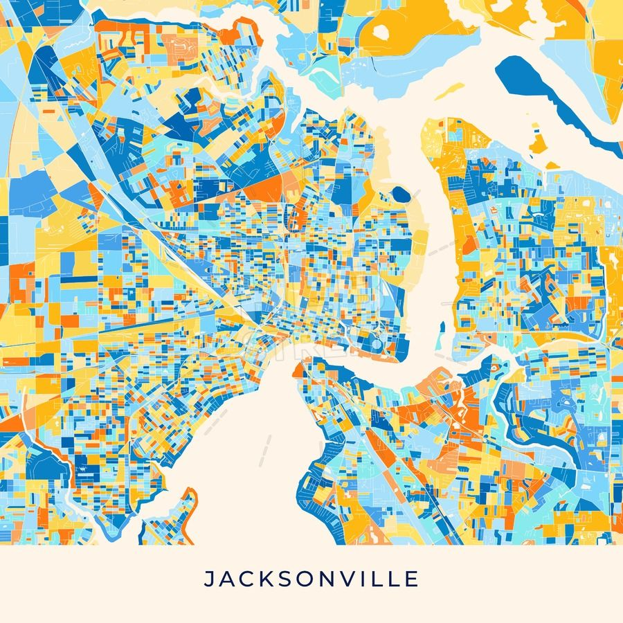 Jacksonville colorful map poster template | Maps Vector Downloads ...