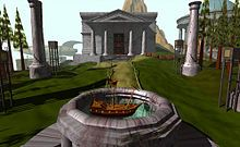 MYST | Screenshot of Myst, showing the island's library in the background and a puzzle involving a ship in the foreground