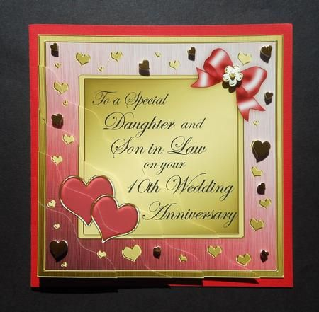 Daughter And Son In Law 10th Wedding Anniversary 10th Wedding Anniversary Anniversary Greeting Cards Wedding Anniversary Cards