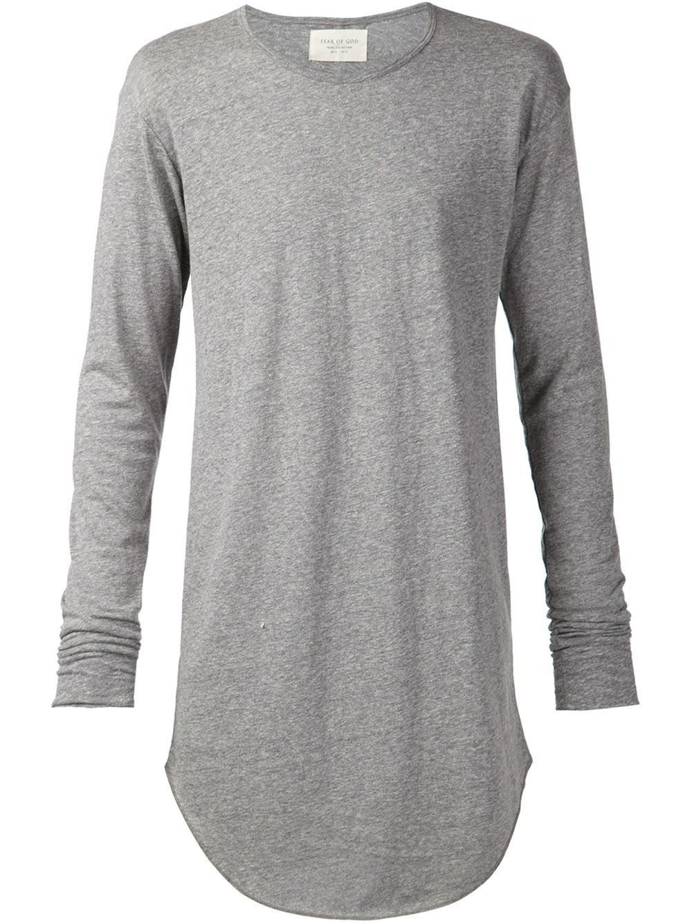 287bde55 Fear Of God Long-Line Cotton-Blend T-Shirt in Gray for Men (grey) | Lyst