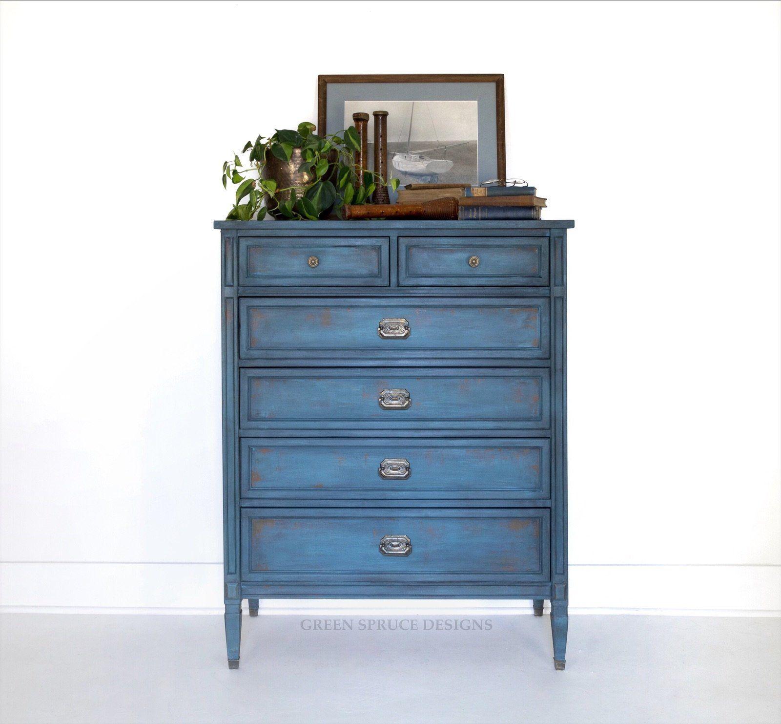 AVAILABLE Royal Blue Vintage Dresser Modern Hollywood