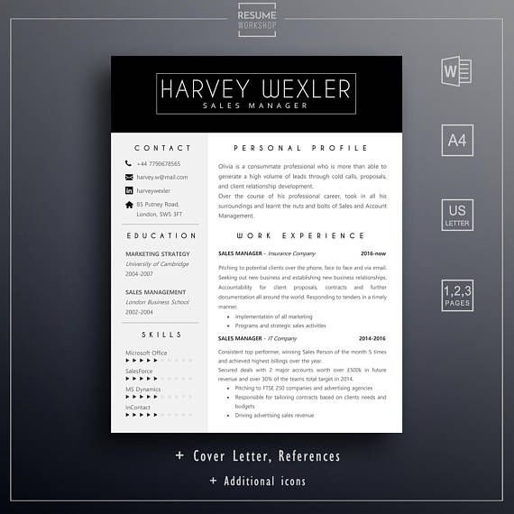 Professional resume template Easily editable sales HR resume 1