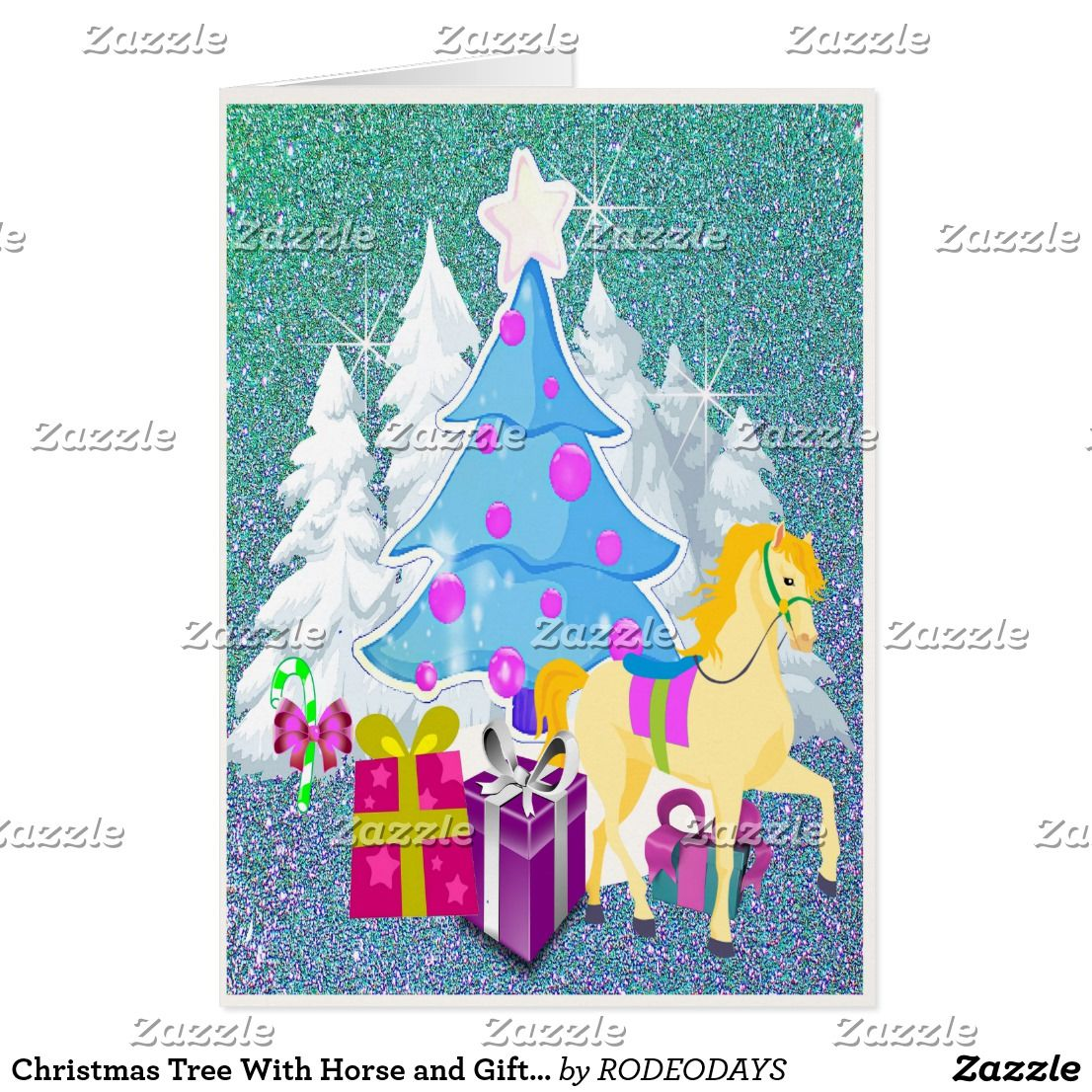 Christmas Tree With Horse and Gifts FAUX Glitter Card | WESTERN ...