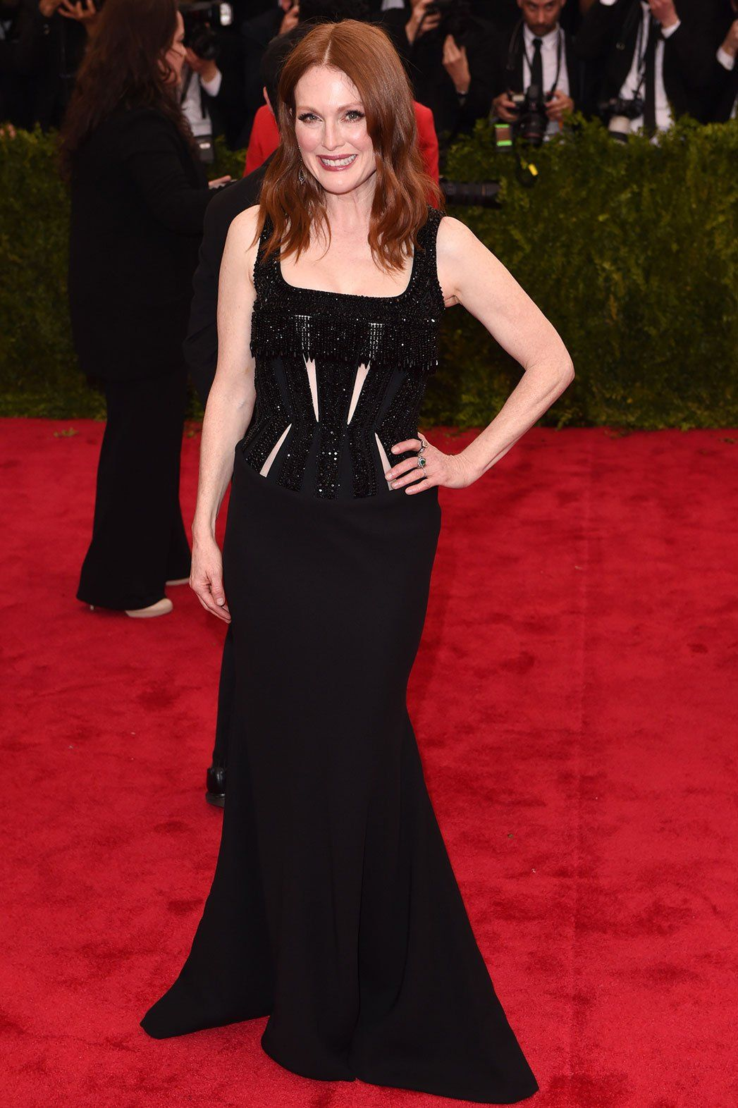 Julianne Moore in beaded black crystal Givenchy haute couture by Riccardo Tisci at Met Ball 2015