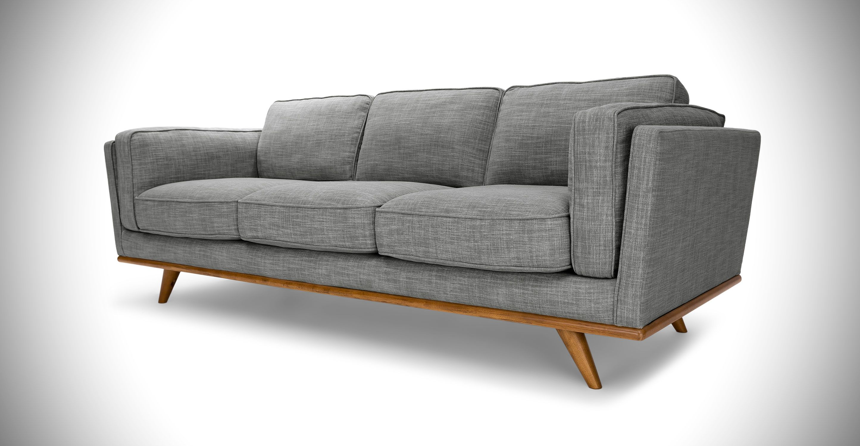 Gray Sofa 3 Seater In Honey Oak Wood