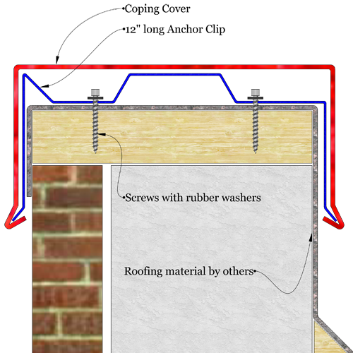 Snap Lock Roof Coping Level Sketch Drawing The Image Shows A Sketch Of Metal Coping Installed Level Over Parapet Wall Architectuur Details Dak Bouwkunde