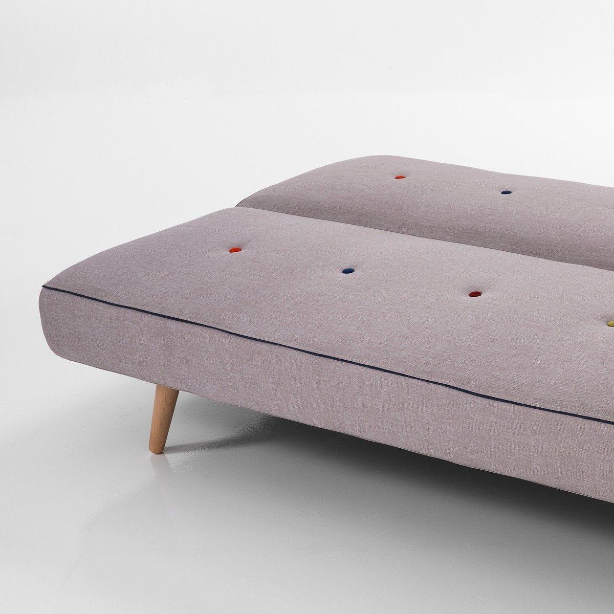 Divano letto Kuniko a due posti in tessuto grigio 180 cm | Strelher ...