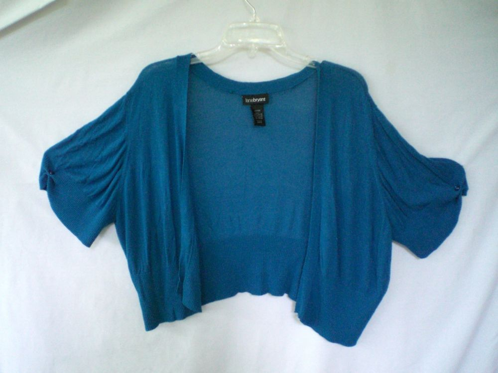 Lane Bryant Turquoise Shrug Sweater SZ 22 - 24 Women Short Sleeve ...