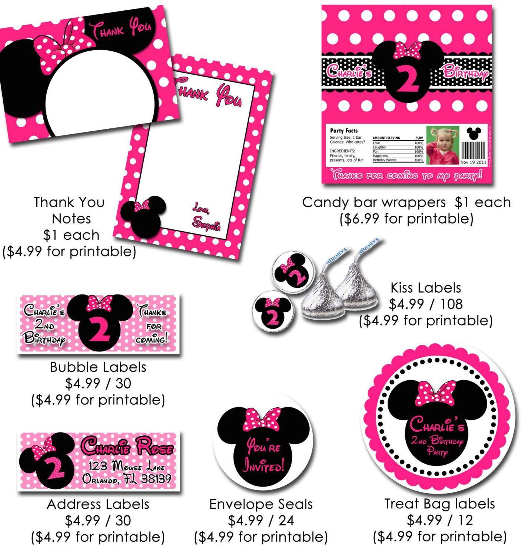 Minnie Mouse Invitation Printable Birthday by KidsPartyPrintables ...