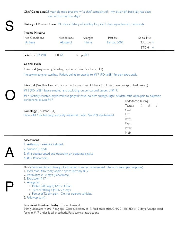 SOAP Notes Dentistry Example DENTAL SCHOOL – Career Assessment Template