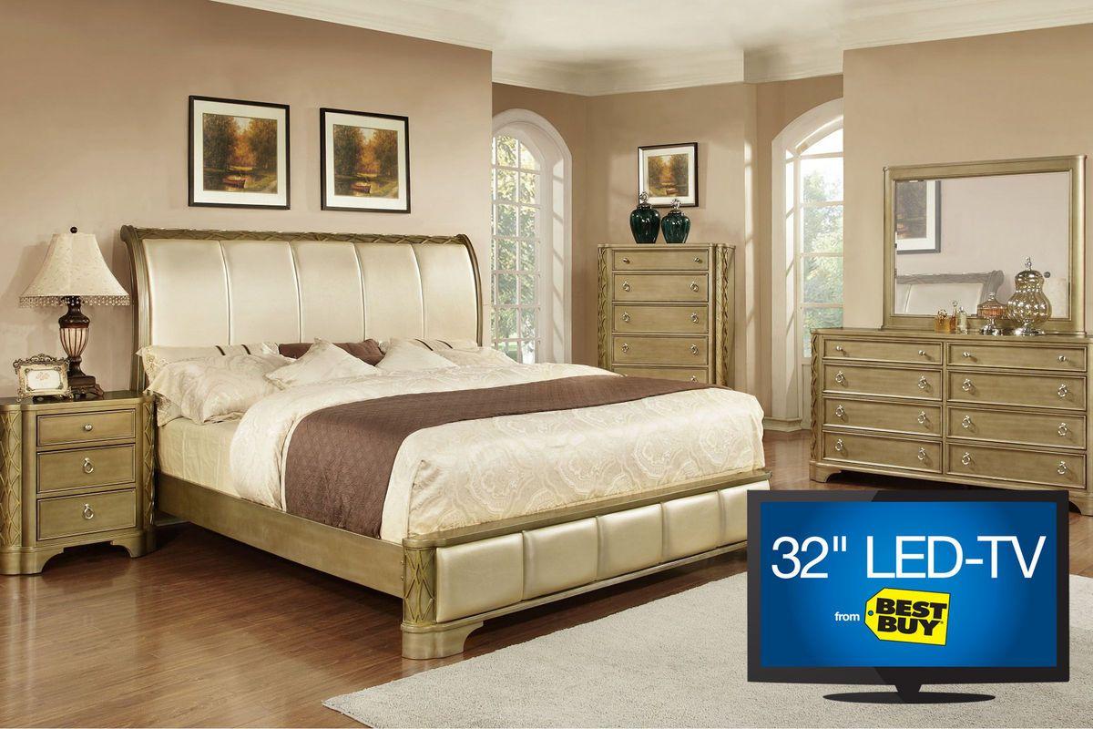 """hot 47 Golden Queen Bedroom Set with 32"""" TV from Gardner"""