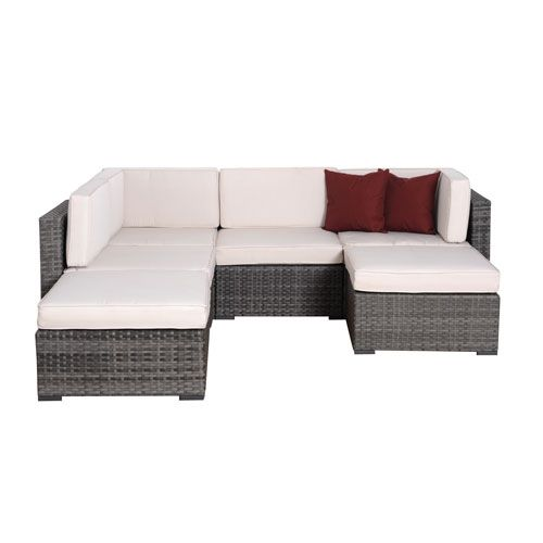 Clermont Six Piece Grey Wicker Seating Set With Off White Cushions International Home Miam