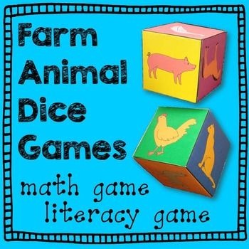Farm Animal Dice Games! Farm Animals make math centers and literacy ...