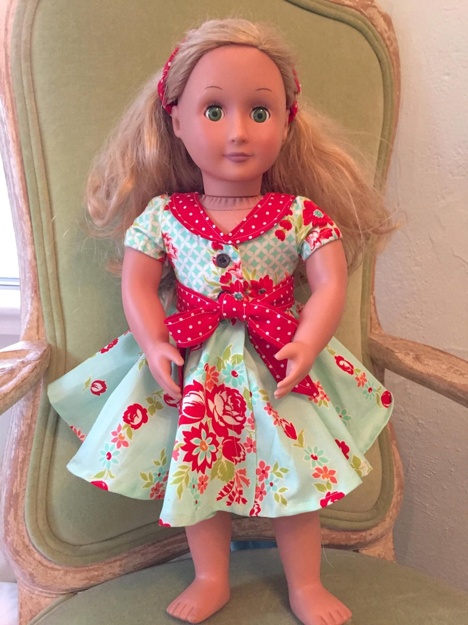 New! Audrey Retro Style DOLL Dress PDF Sewing Pattern American Girl #dolldresspatterns