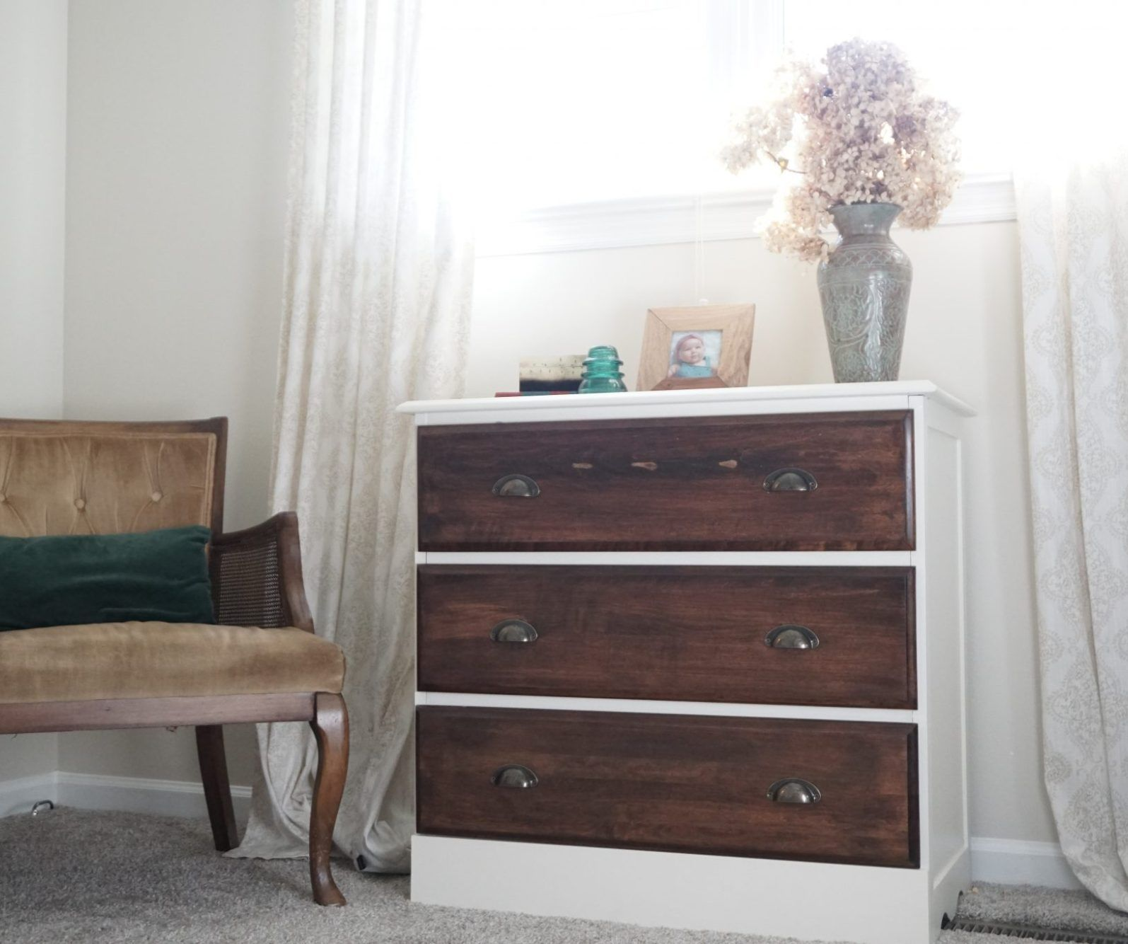 Cherry Dresser Makeover to Natural Wood Finish Bedroom