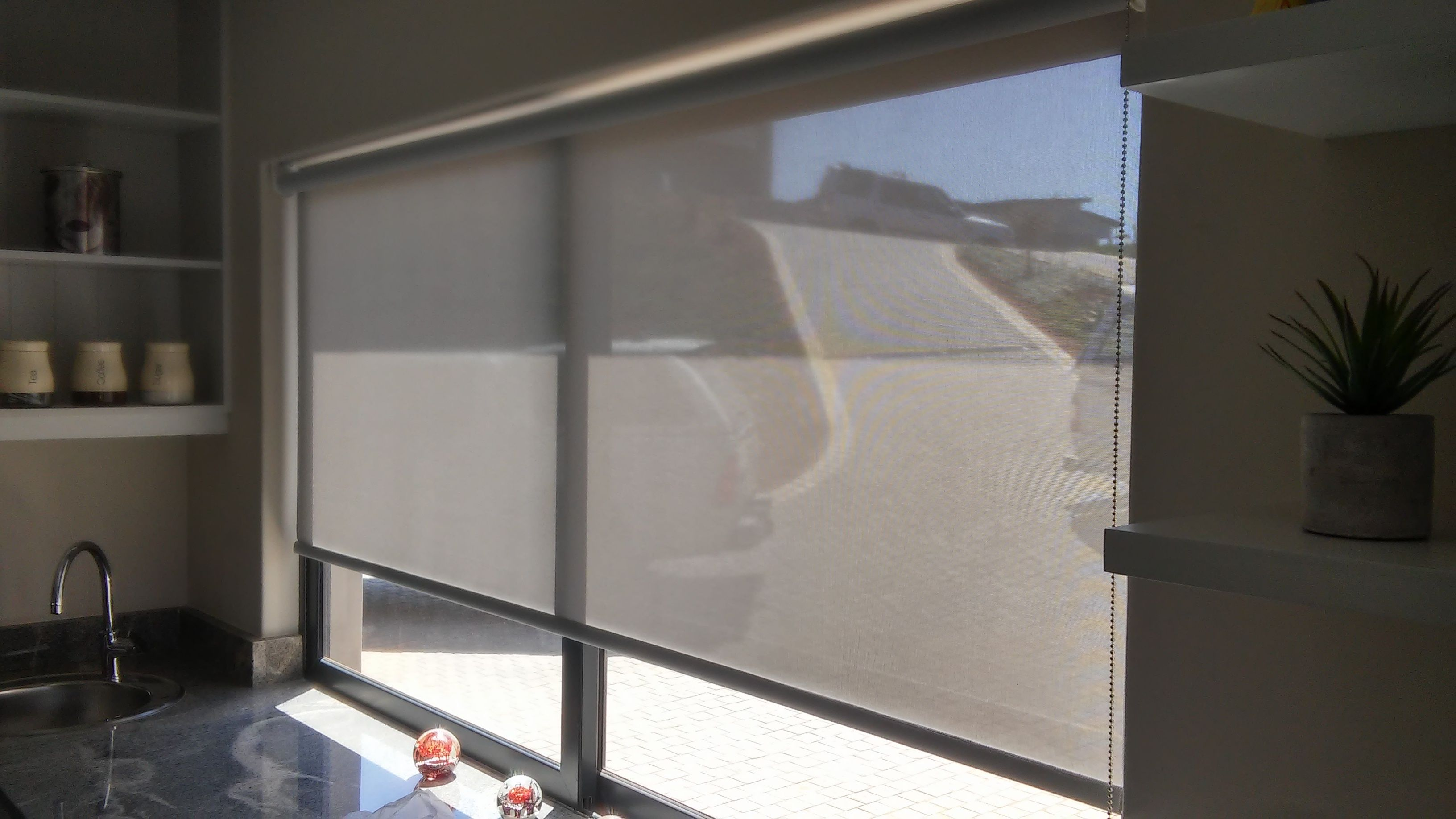 Sheer Weave Roller Blinds - white/grey with stainless steel chain ...