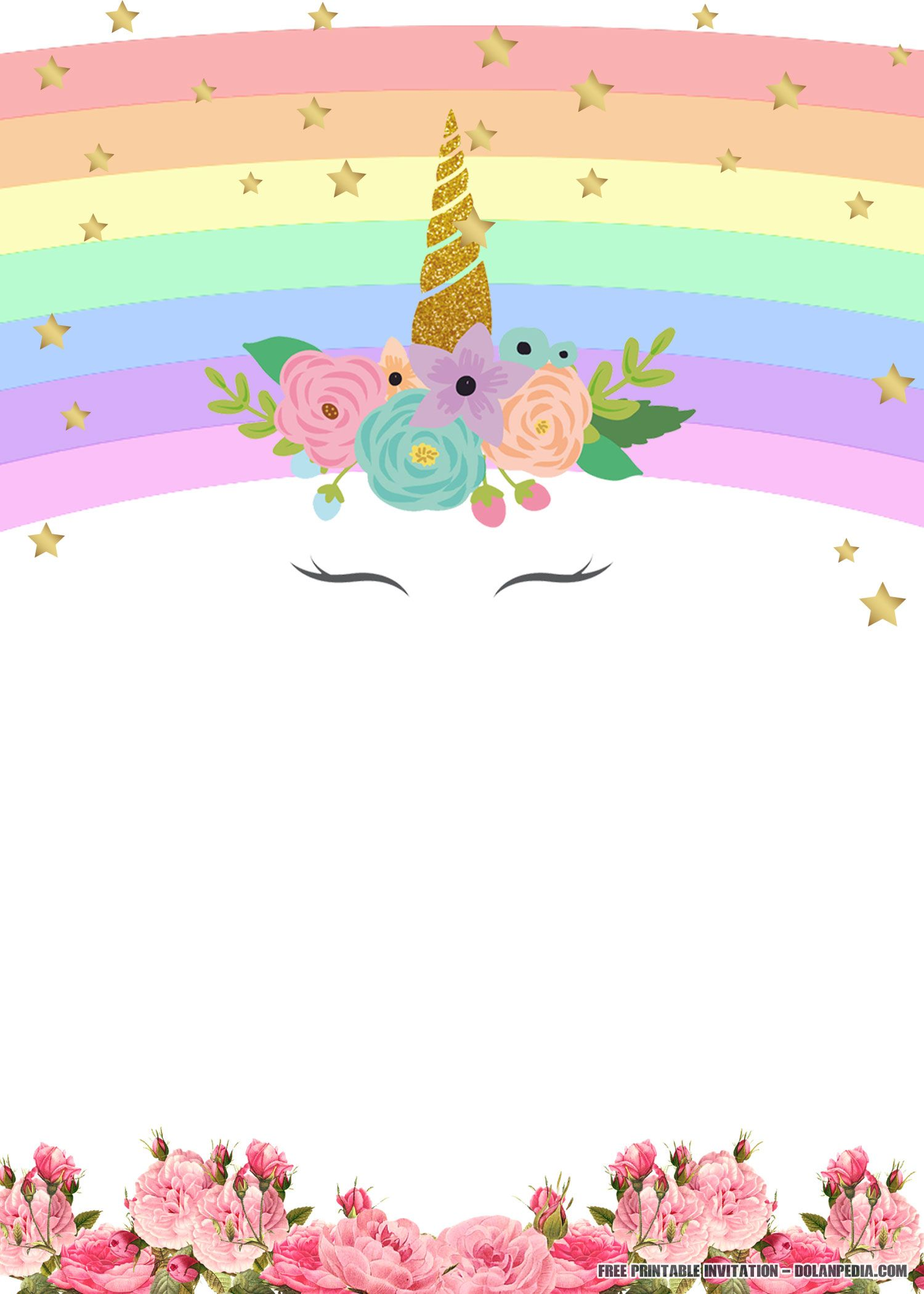 FREE Printable Unicorn Rainbow Invitation Template  DREVIO