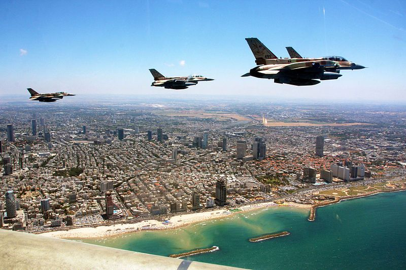 The Israeli Air Force executes a flyover above the Mediterranean Sea to commemorate Yom HaAtzmaut (Israeli Independence Day).