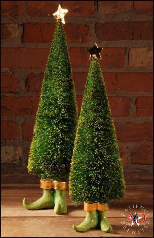 2012 Patience Brewster Krinkles, Sisal Elf Trees - Set of 2 - 2012 Patience Brewster Krinkles, Sisal Elf Trees - Set Of 2 FAeRie