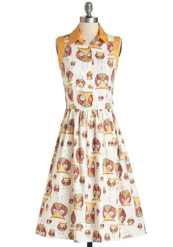 What a Hoot! Dress. Your bubbly personality and jokes are even more adorable when you sport this owl-printed shirt dress! #white #modcloth