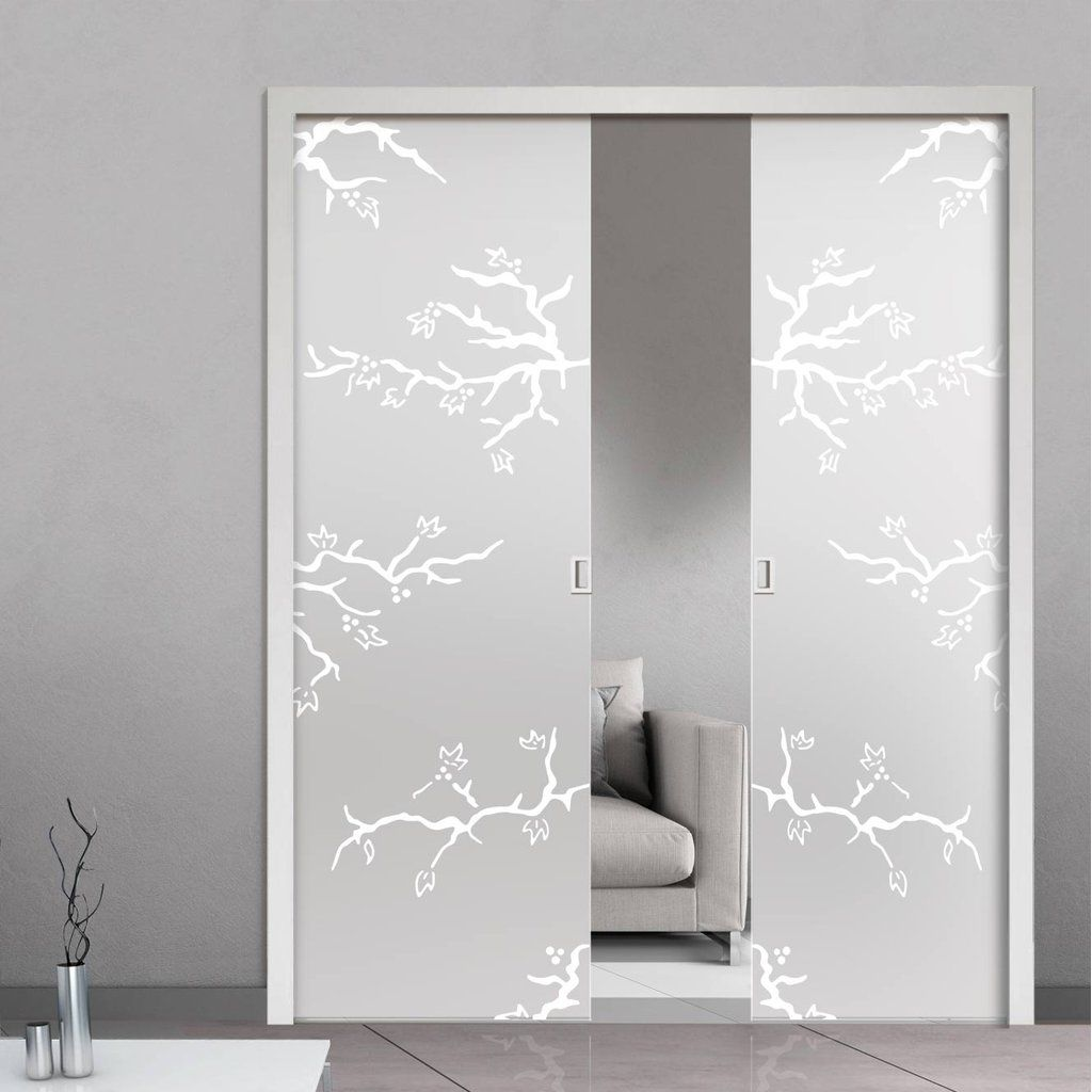 Eclisse 10mm Rosapesco Sandblasted Design On Clear Or Satin Glass