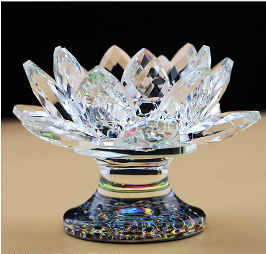 Free shipping Exquisite Lotus Flower Shaped Crystal Candle Holder For Wedding Decoration