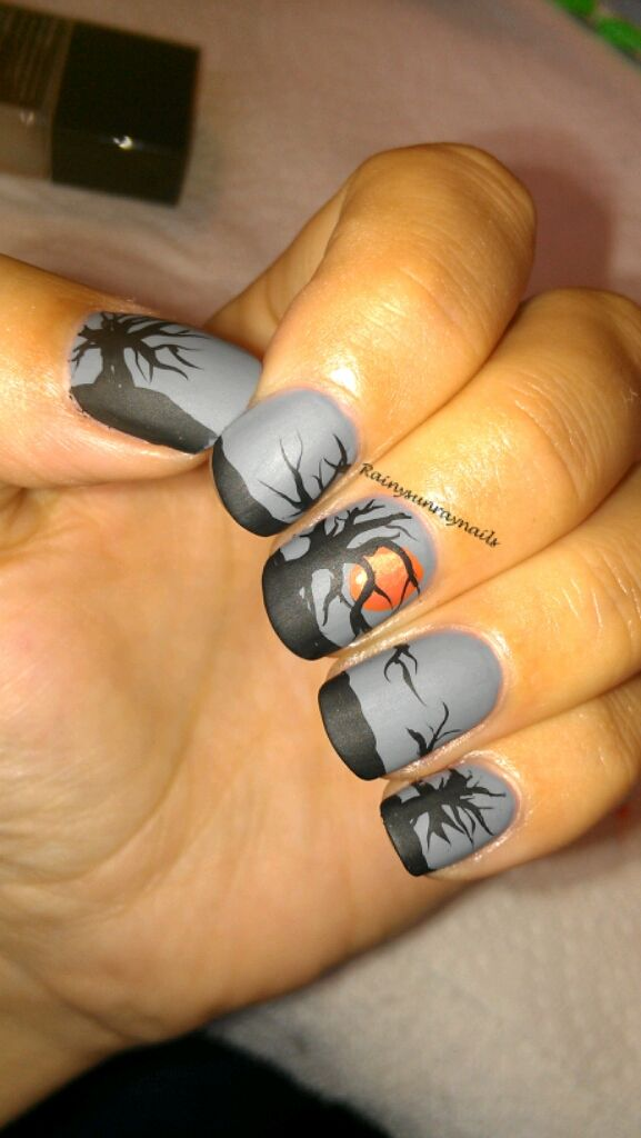 rainysunraynails: Fall Nail Art 2012. Spooky Sunset | My Nails ...