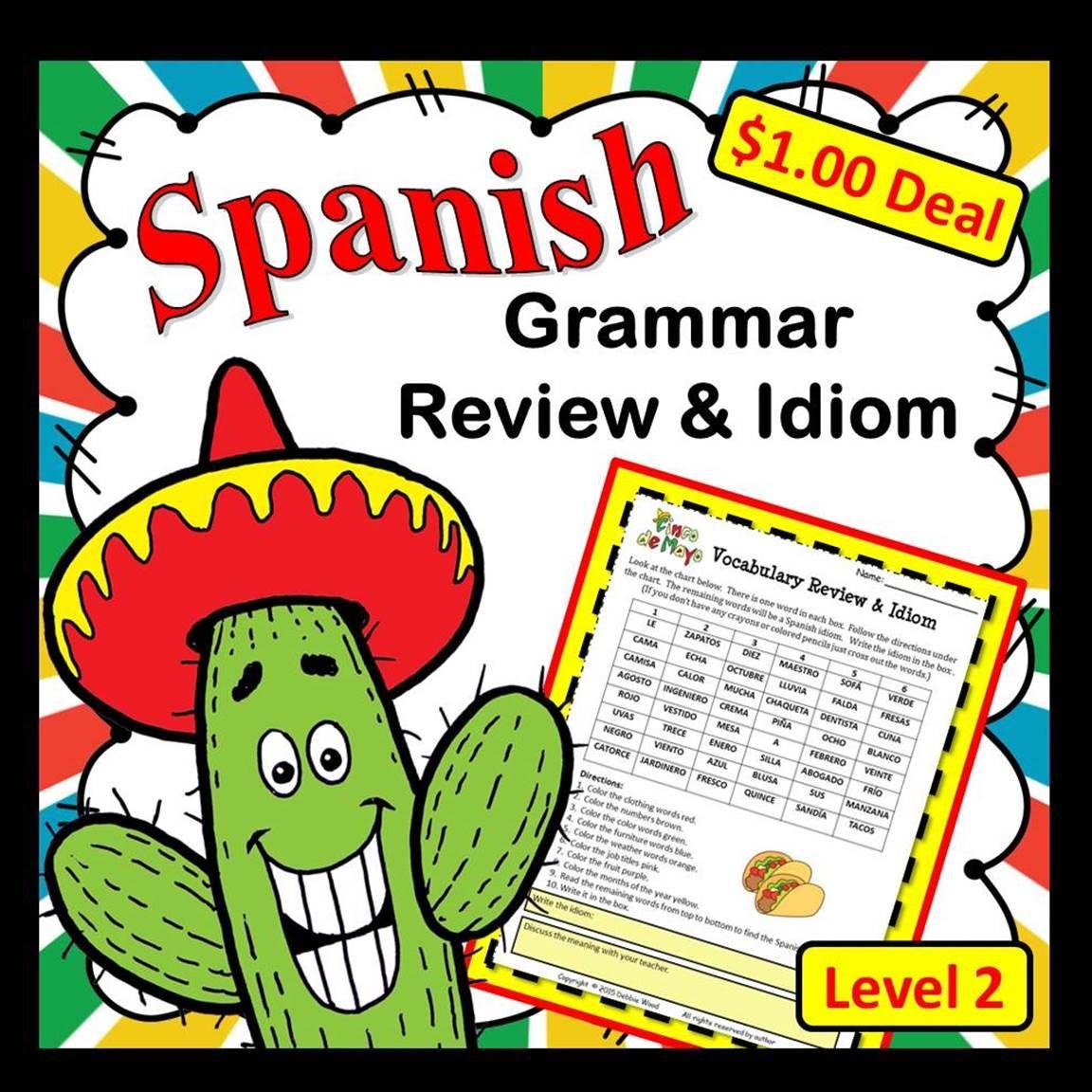 Spanish Cinco De Mayo Grammar Review Amp Idiom Dollar Deal