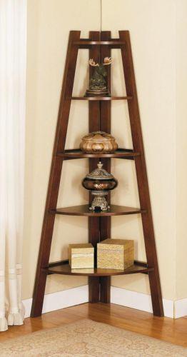 Free Ship 40 Dark Walnut Wood Corner Storage Rack Book 40 Shelf Custom Dark Wood Corner Shelves