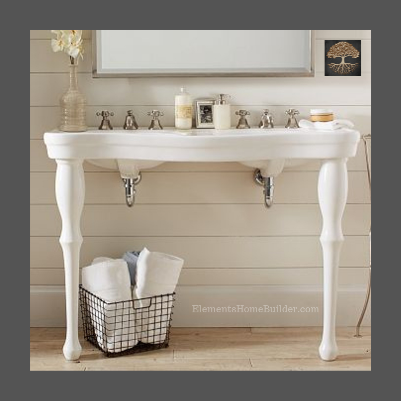 Custom Homes Pedestal Sink Bathroom Cottage Style Bathrooms