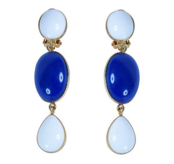 Philippe Ferrandis Twiggy blue long earrings #luxury #modewalk