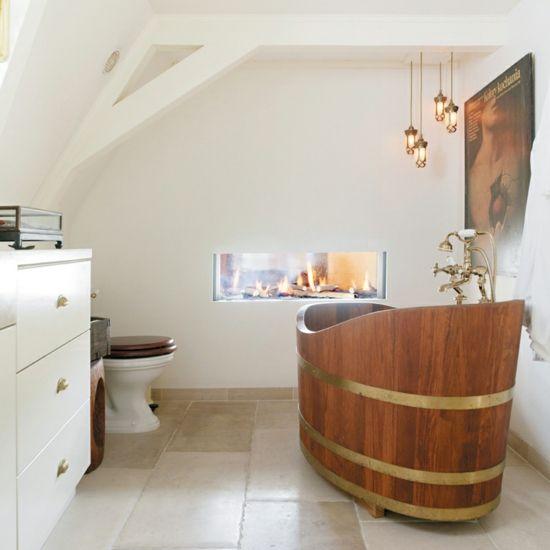 Ideen Badezimmer beige Landhausstil Kamin Some-day-maybe-might - bad landhausstil