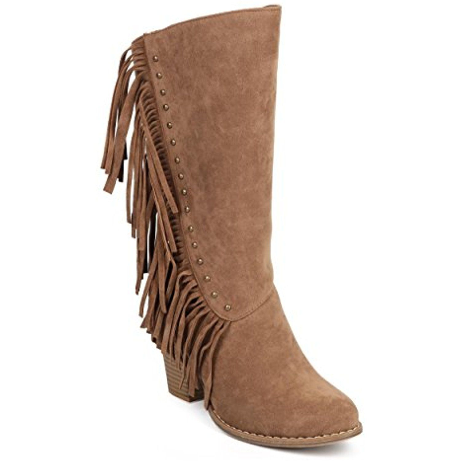 DC14 Women Suede Mid-Calf Vertical Fringe Stud Chunky Heel Western Boot -  Taupe >