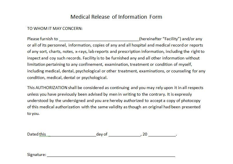 Medical Release Forms  Templates In Word And Pdf Format
