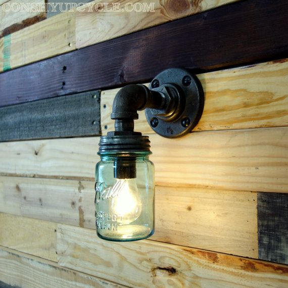 Vintage 1 Pint Ball Mason Jar Wall Sconce Light Black Iron ...