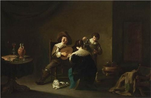 Interior with a Gentleman Playing a Lute and a Lady Singing - David Teniers the Younger