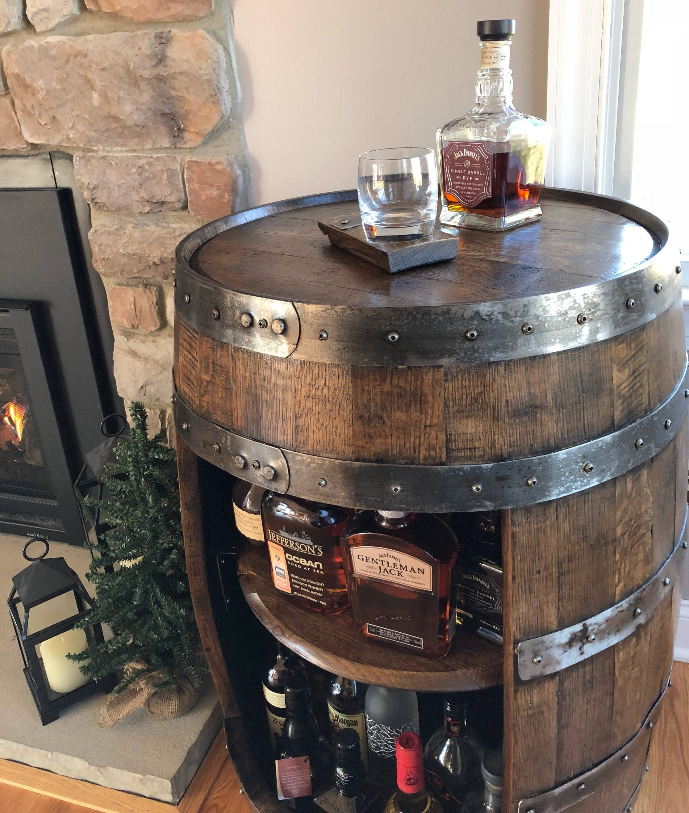 Whiskey Barrel Liquor Cabinet Handcrafted From A Reclaimed Whiskey Barrel Whiskey Barrel Wine Barrel Furniture Barrel Decor