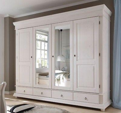 Oslo Kleiderschrank Schrank Schlafzimmer Spiegelschrank Kiefernholz Weiß