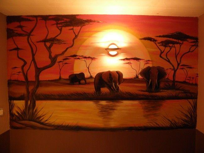 Mur savane africaine dessin de k vynou post sur tvhland african art deco african art - Dessin africaine ...